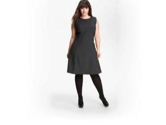 Черное платье А-силуэта для полных