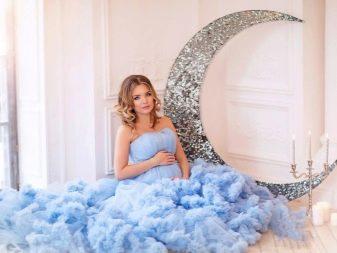 Голубое платье в прокат для беременной для фотосессии