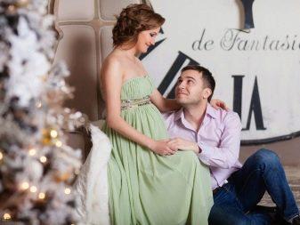 Зеленое платье для фотосессии беременных