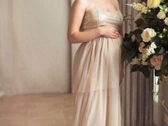 Бежевое платье в прокат для беременной для фотосессии
