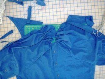 Формирование лифа на платье из мужской рубашки - этап 2