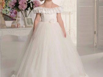 Шикарное  свадебное пышное платье с приспущенными плечами для девочки