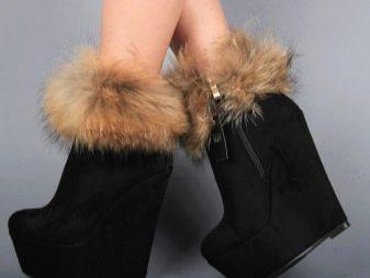 db8518e9 Причем, для декоративной отделки верха зимней обуви используется не только  пышный мех, но и цигейка.