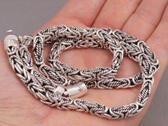 Серебряная цепь византийское плетение