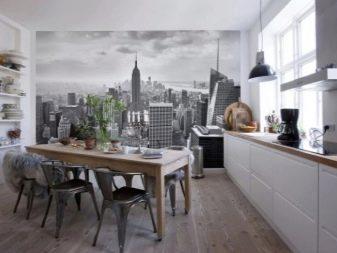 Фотообои в маленькую кухню возле стола