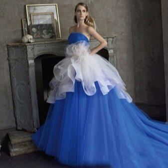 Синее пышное свадебное платье