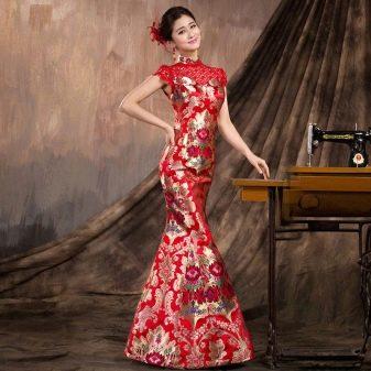 Длинное праздничное платье-ципао