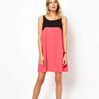 Двухцветное платье из вискозы