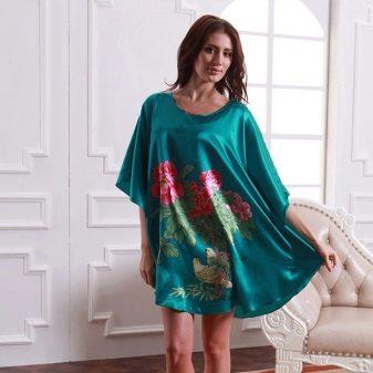 Шелковое домашнее платье-туника