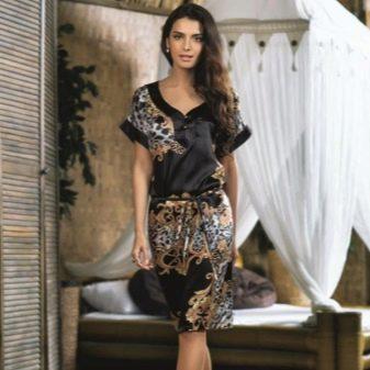 Шелковое домашнее платье-кимоно