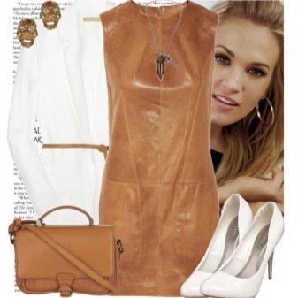 Белый аксессуары к коричневому кожаному платью