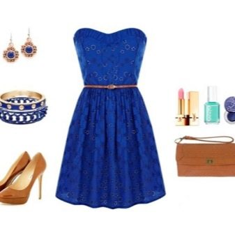 Синее кружевное платье с аксессуарами