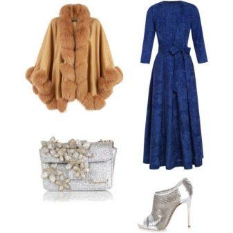 Серебристая обувь к синему платью