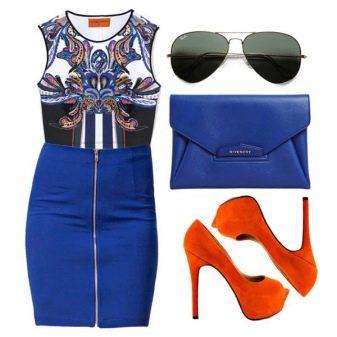 Оранжевая обувь к синему платью