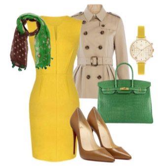 Комбинирование аксессуаровк желтому платью