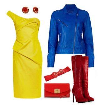 Синий пиджак к желтому платью