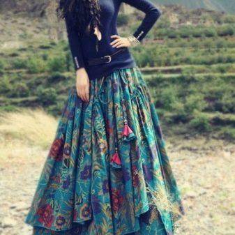 Многослойная юбка из хлопчатобумажной ткани