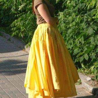 Многослойная юбка из льняной ткани