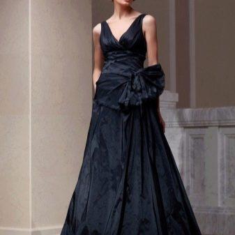 черное платье из тафты в пол