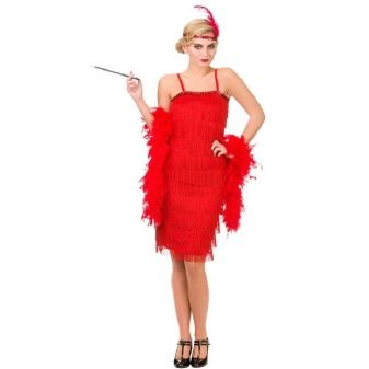 Красное платье с бахромой в стиле Чикаго