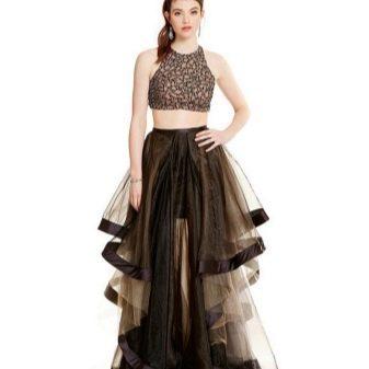 Черная длинная многоярусная юбка из органзы