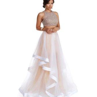 Длинная белая юбка из органзы