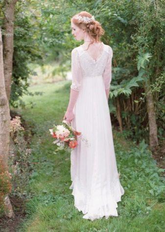 Свадебное платье в стиле Прованс с короткими рукавами