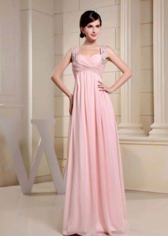 Розовое платье ампир на бретельках