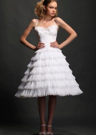 Свадебное платье с  пышной юбкой плиссе