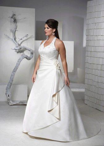 Свадебное платье с бретелями для полных