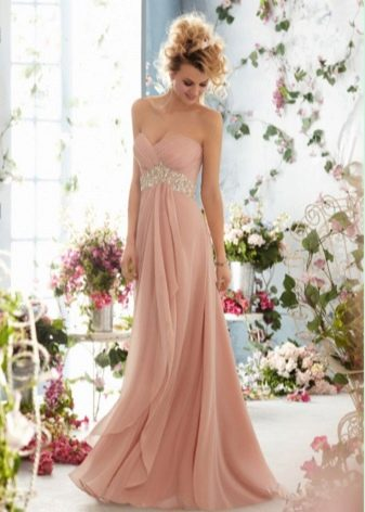 Свадебное персиковое платье ампир