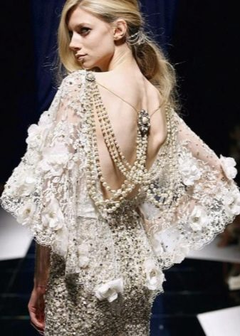 Свадебное платье длинное в стиле винтаж со стеклярусом