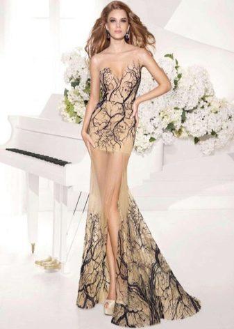 Вечернее платье бежевое с бирюзой