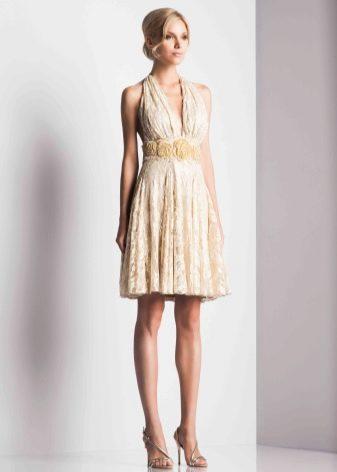 бежевое вечернее платье миди