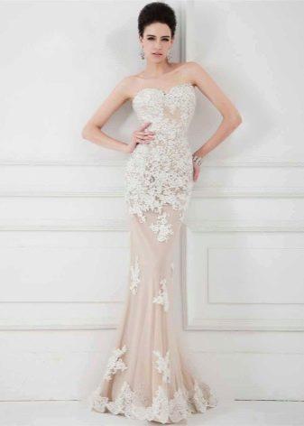 Вечернее платье бежевое с эффектом обнаженного тела
