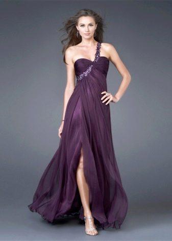 Фиолетовое вечернее платье с бретелью на одно плечо