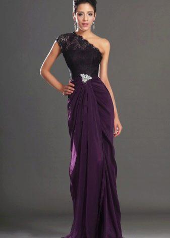 Фиолетовое вечернее платье на одно плечо