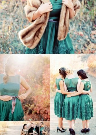 Изумрудное платье - сочетание с бежевым - лук