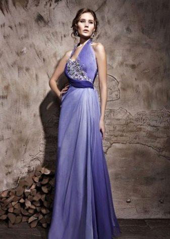 Вечерннее платье сиреневое в стиле греческом