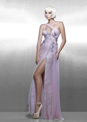 Вечернее сереновое платье с разрезом