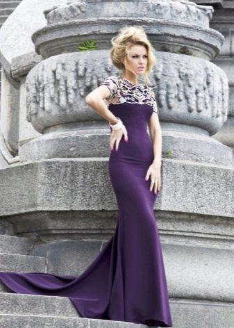 Фиолетовое вечернее платье русалка