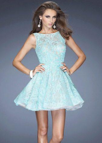 Вечернее короткое платье мятного цвета