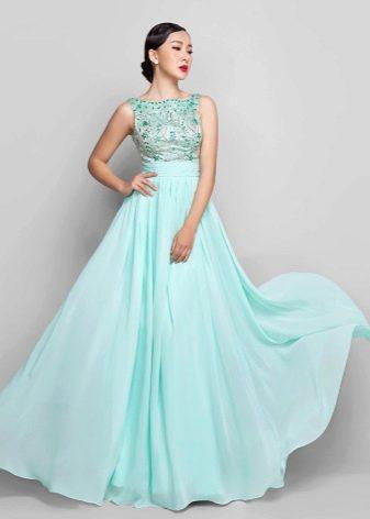 Вечернее платье мятного цвета с блестящим верхом