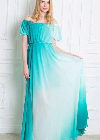 Вечернее платье бирюзовое с белым градиентом