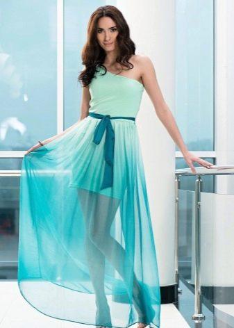 Короткое вечернее платье бирюзовое