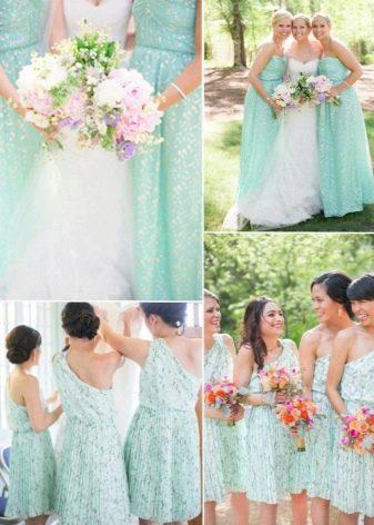 Мятные платья для подружек невесты одного цвета