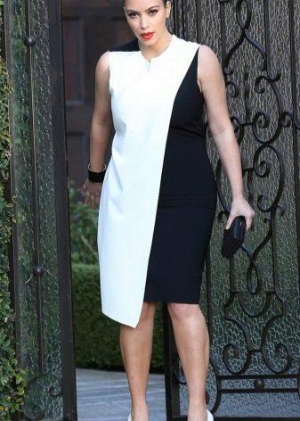 Вечернее платье бело-черное из плотной ткани