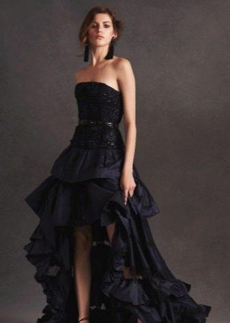 Платье вечернее с кружевом ассиметричное