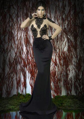 Вечернее платье с иллюзией обнаженного верха