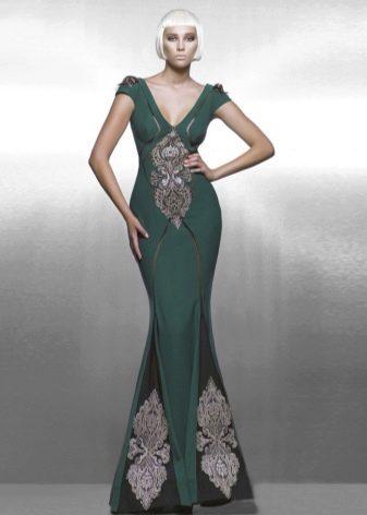 Вечернее платье русалка с вышивкой
